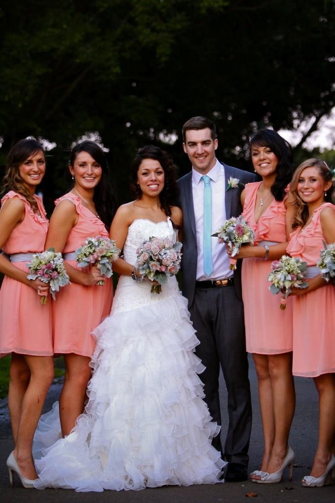 Pink Grey wedding bouquets