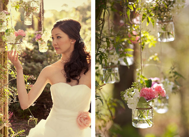 Vintage Wedding Shoot Hanging Jars Flowers