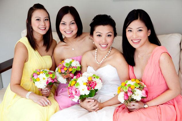colourful bridesmaids bouquet