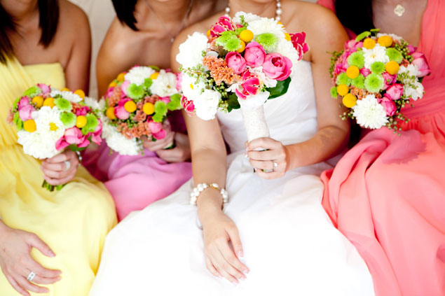 colourful wedding bridesmaids bouquets