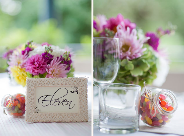 colourful wedding flowers table centrepiece