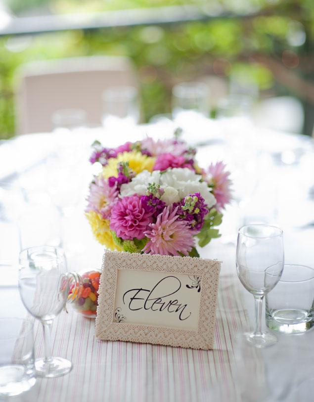 Botanic Gardens Restaurant colourful wedding flowers table centrepiece