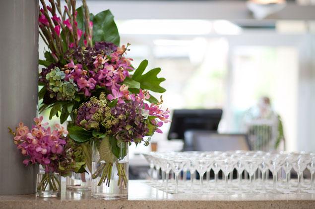 colourful wedding reception flowers