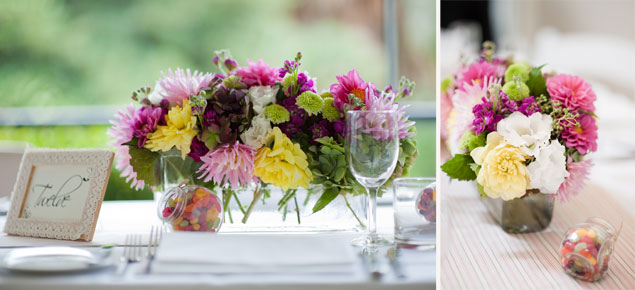 colourful shabby chic wedding flowers