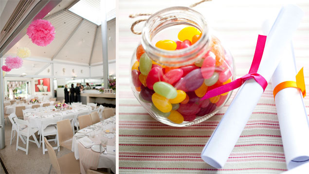 colourful wedding flowers with jellybeans Botanic Gardens Restaurant