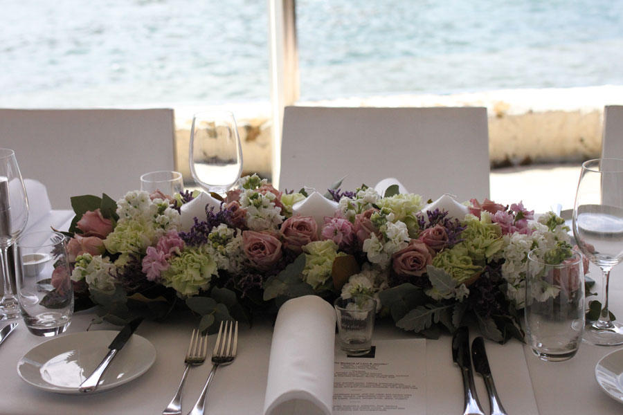 wedding table centrepiece with candles