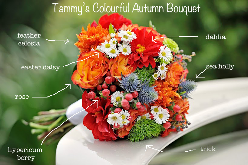 colourful bridal red and orange bouquet